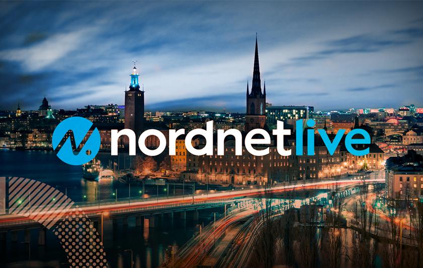 Nordnet logga med Stockholm i bakgrund